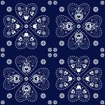 motif heart blue