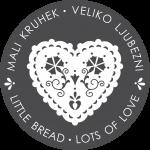 logo Mali kruhek veliko ljubezni bela na sivi